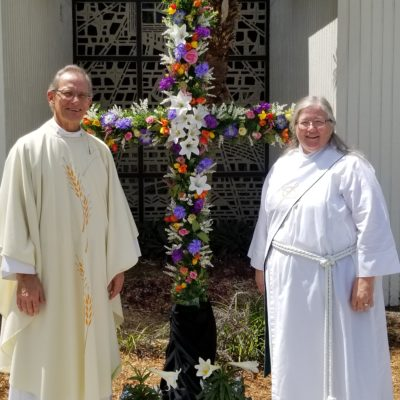 Easter Prayer Cross with Pastor John and Deacon Lois